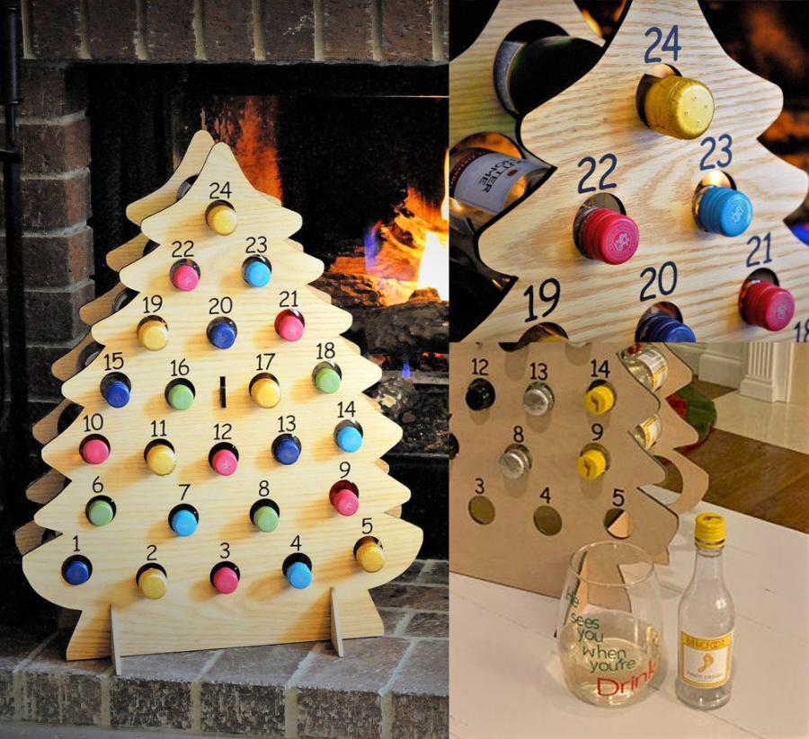 This Christmas Tree Advent Calendar Holds Mini Bottles Of Wine
