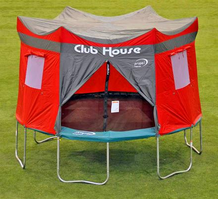 This Clubhouse Trampoline Cover Turns Your Kids Tramp Into an Awesome Camping Tent
