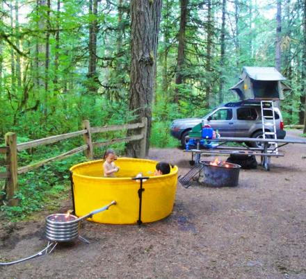 There's a Collapsible Camping Hot Tub That Can Be Set Up Practically Anywhere