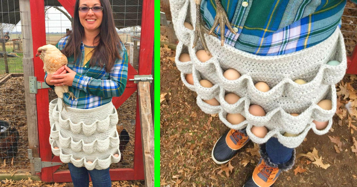 This Crochet Egg Apron Helps You Carry Tons Of Eggs, Perfect For Chicken Owners