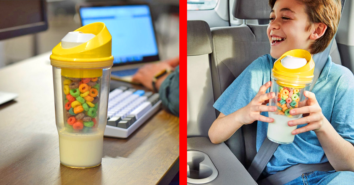This Divided Milk and Cereal Cup Lets You Eat Breakfast While On The Go