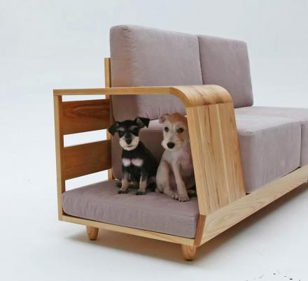 This Dog House Sofa Has an Integrated Dog Bed In The Armrest