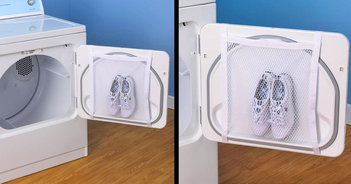 This Dryer Door Shoe Net Lets You Dry Your Shoes In The Dryer
