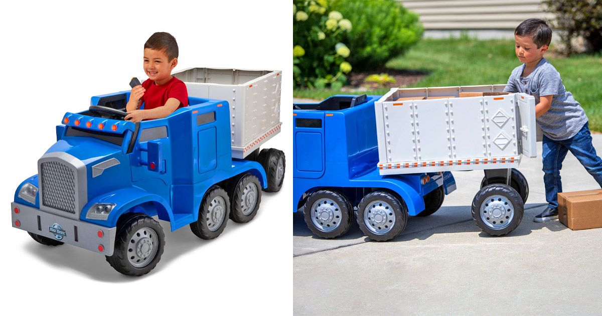 This Electric Semi-Truck Ride-On Toy Lets Your Kid Drive Their Own Big-Rig