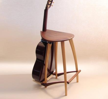 Admirable This Elegant Wooden Stool Has An Integrated Guitar Stand Ocoug Best Dining Table And Chair Ideas Images Ocougorg
