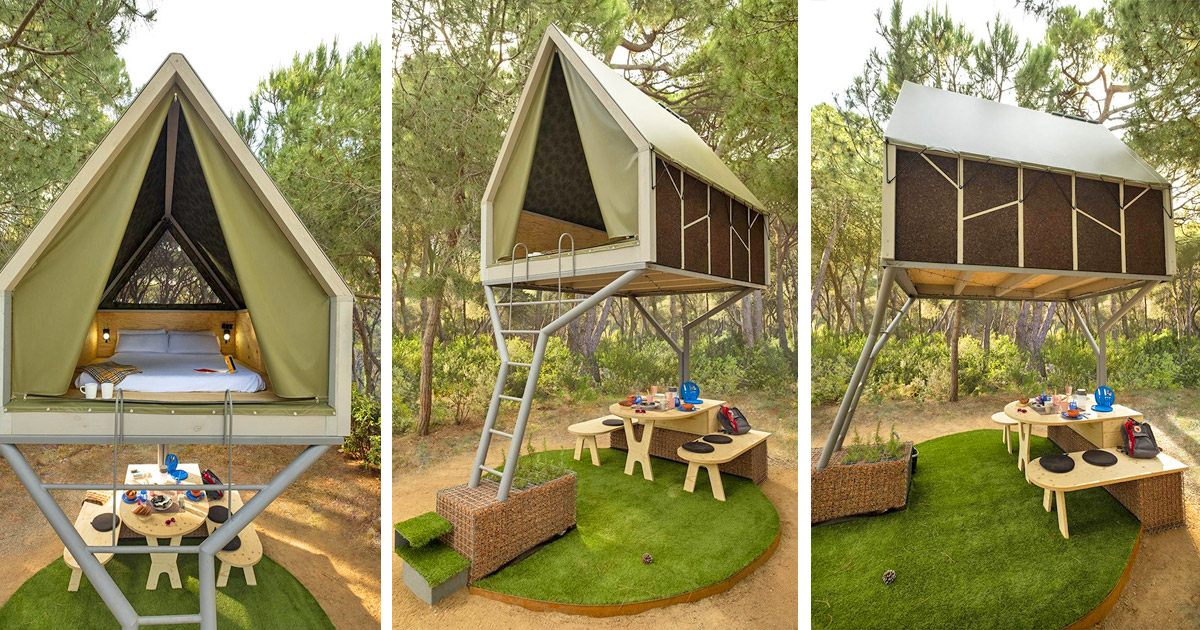 This Elevated Mini Cabin Creates a Covered Shelter Area Below It