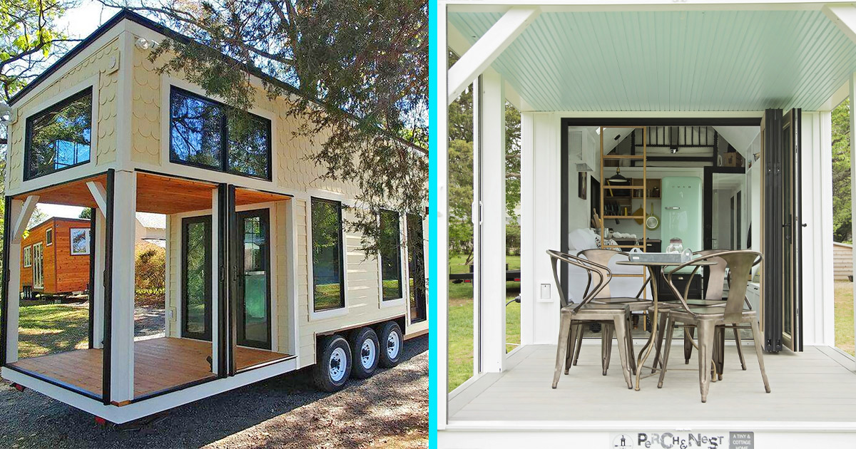 This Farmhouse Style Tiny Home Has Its Own Built-In Porch Area