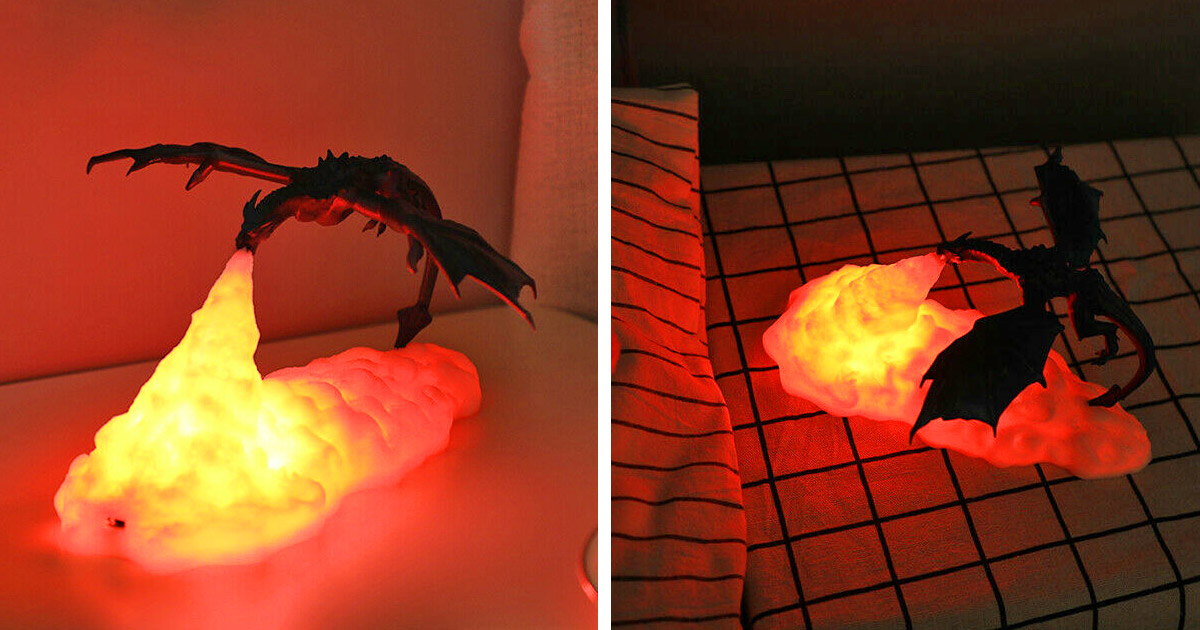 This Fire-Breathing Dragon Night Light Belongs In Every Dragon-Loving Kids Bedroom