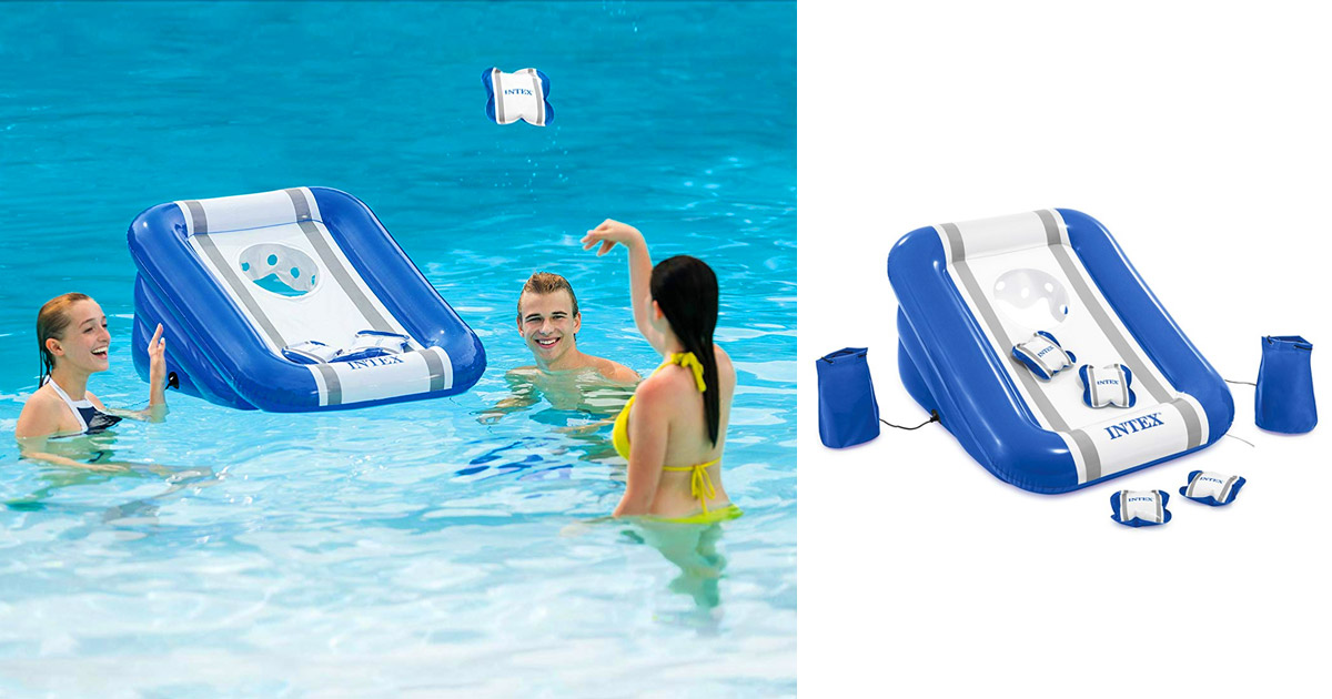 This Floating Cornhole Board Comes With Weight Bags So It Stays In Place In The Pool