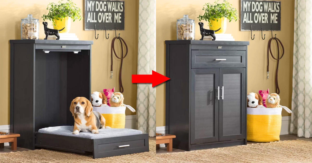This Super Cute Fold-Up Murphy Dog Bed Cabinet Saves Space When Not In Use