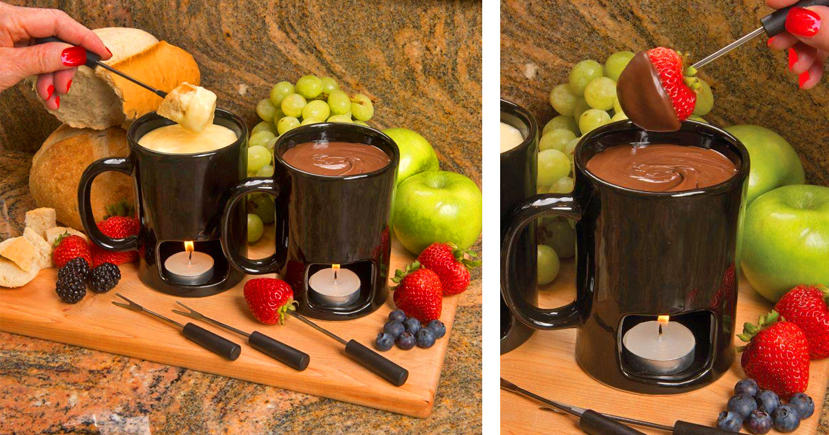 These Candle-Powered Fondue Mugs Are Perfect For Melted Cheese and Chocolate Lovers