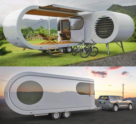 This Futuristic Camping Trailer Rotates Around To Reveal Huge Party Deck