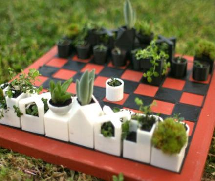This Garden Chess Set Is Made From Different Shaped Micro Planters