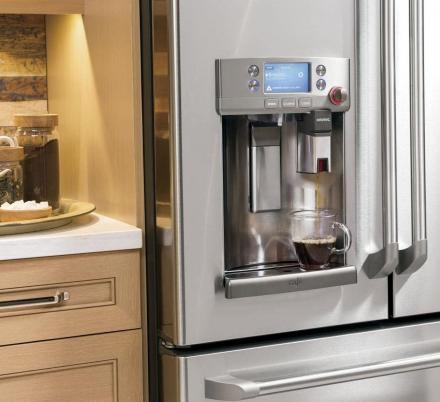 This GE Refrigerator Has a Built In Keurig Coffee Dispenser