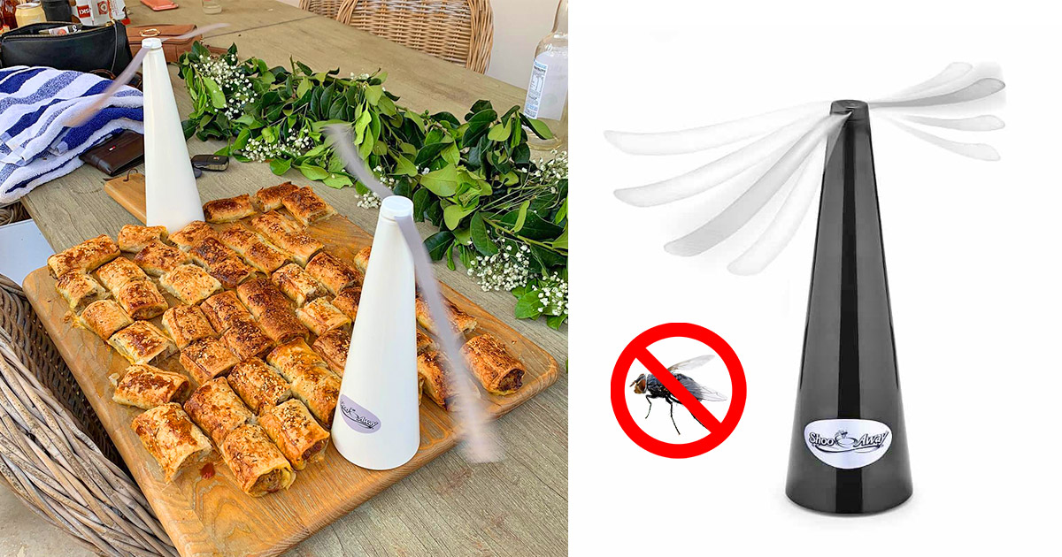 This Genius Automatic Fly Repelling Fan Keeps Bugs Out Of Your Food While Eating Outdoors