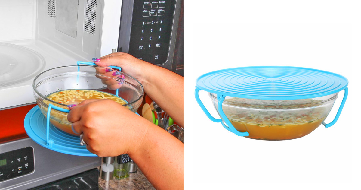 This Genius Bowl Holder Lets You Safely Remove Scalding Hot Bowls From The Microwave