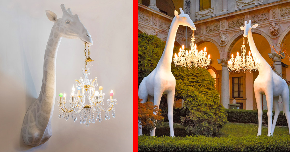 You Can Now Get Giant Giraffe Chandelier Lamps That Are The Same Size as a Young Adult Giraffe