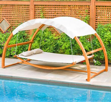 This Hanging Poolside Leisure Bed Lets You Relax In Pure Bliss, Even Through The Night