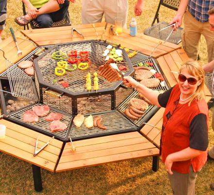 This Incredible Octagon Grilling Table Allows Everyone To Cook Their Own Meal