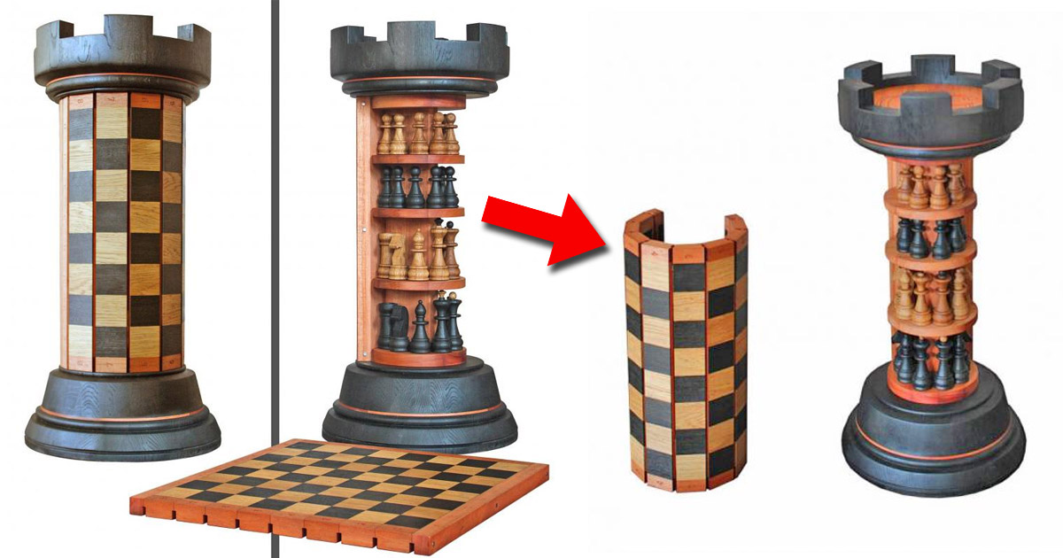 This Incredible Rook Tower Has a Pack-away Flexible Wooden Chess Board That Wraps Around It