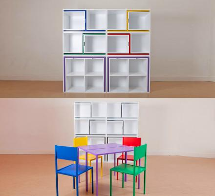 This Incredible Table and Chairs Set Hides Inside Of a Bookcase When Not In Use