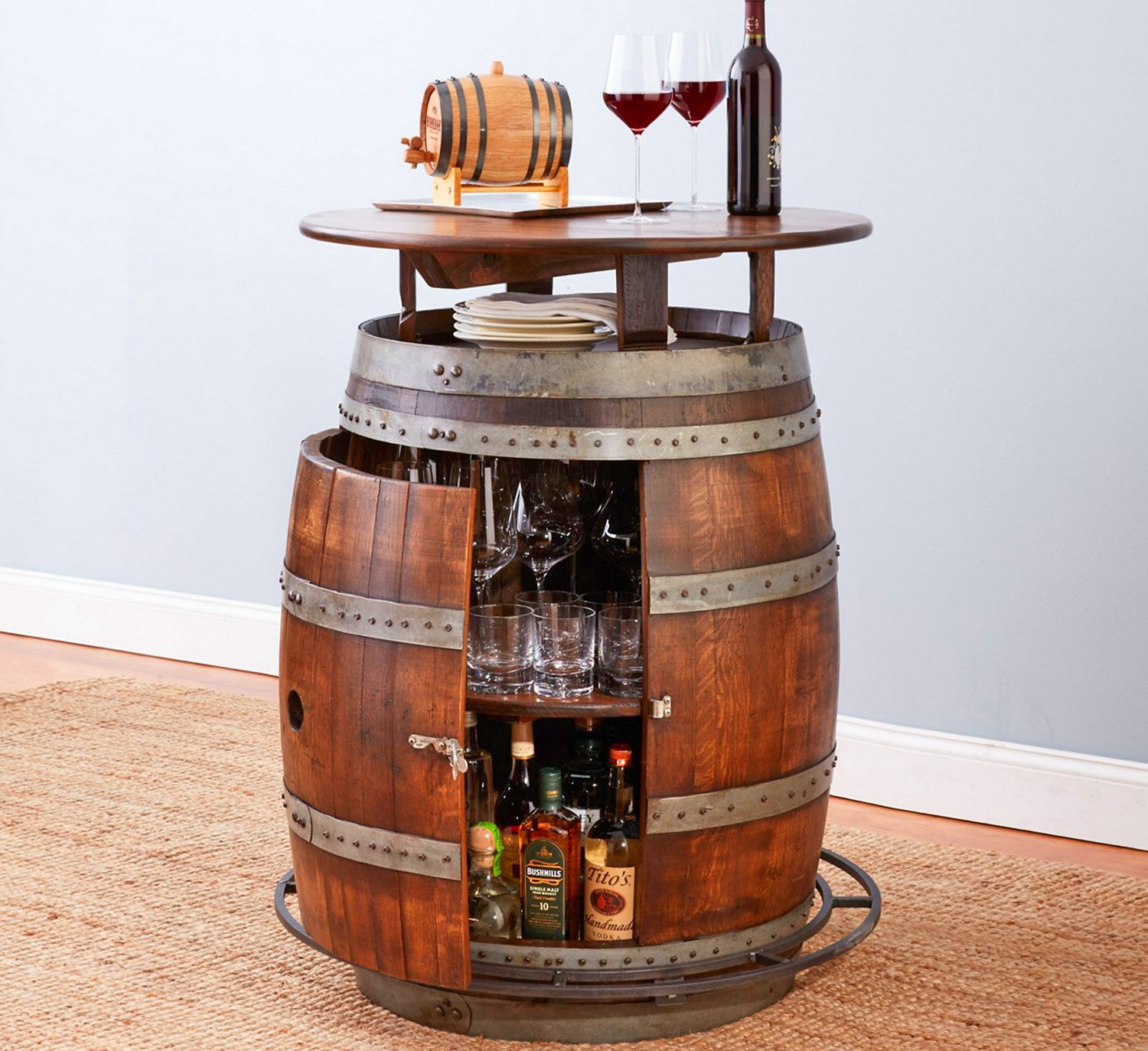 This Ultimate Wine Barrel Table Has a Hidden Storage Area Inside