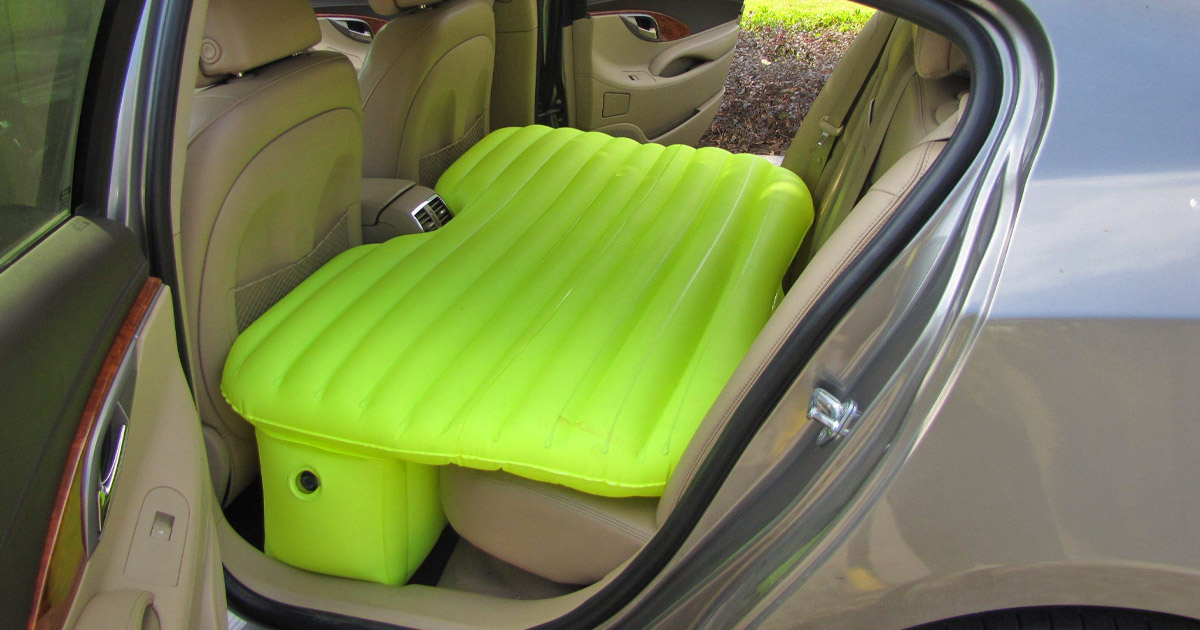 This Inflatable Backseat Car Bed Lets You Sleep Comfortably In Your Car While On The Go