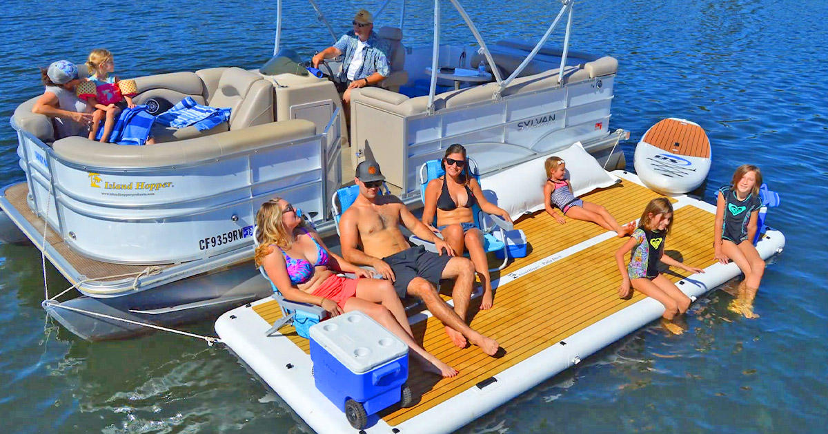 This Inflatable Patio Deck Lets You Bring Your Backyard Onto The Lake For The Ultimate Relaxation