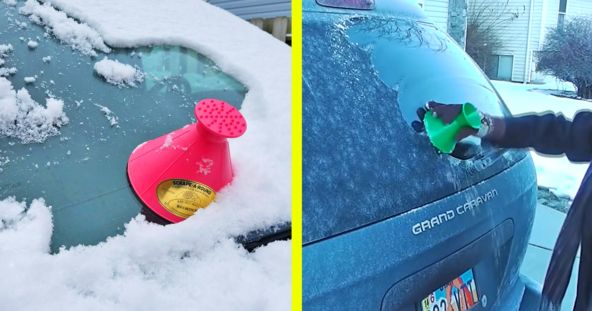 This Ingenious Cone-Shaped Ice Scraper Makes Windshield Scraping Much Easier