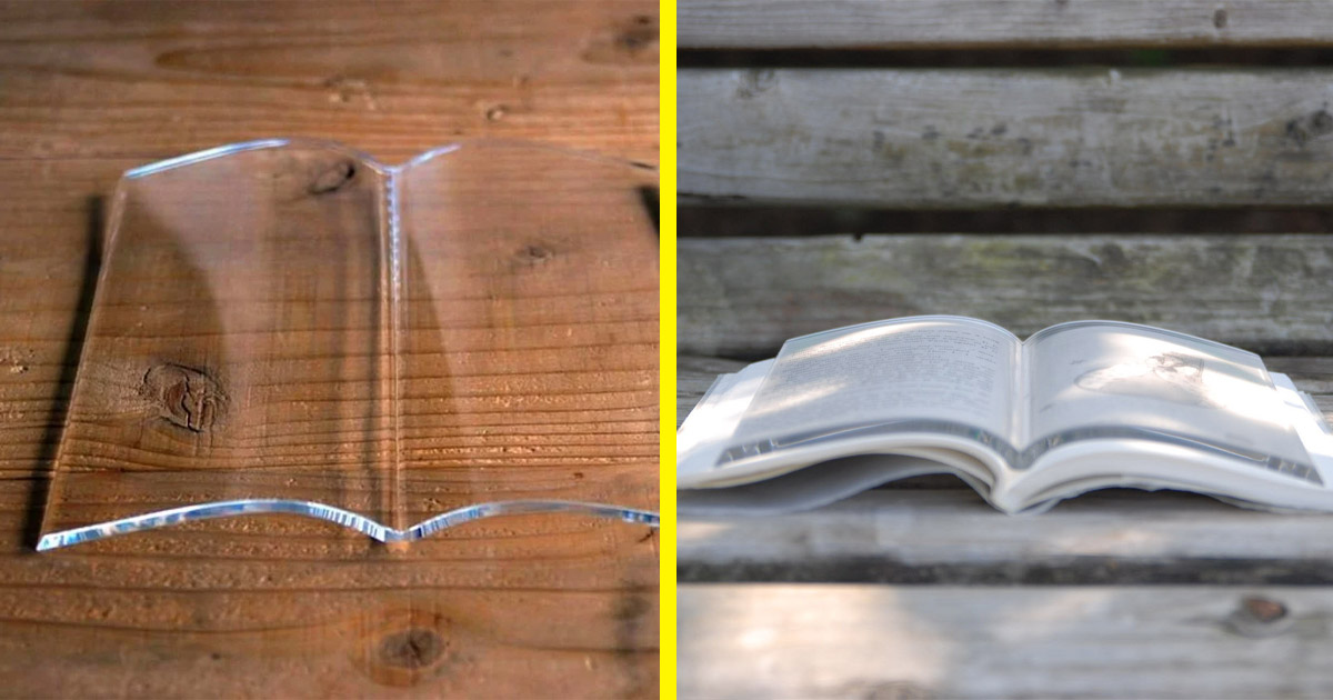 This Ingenious Glass Book Page Holder Keeps Your Book Open For Hands-Free Reading