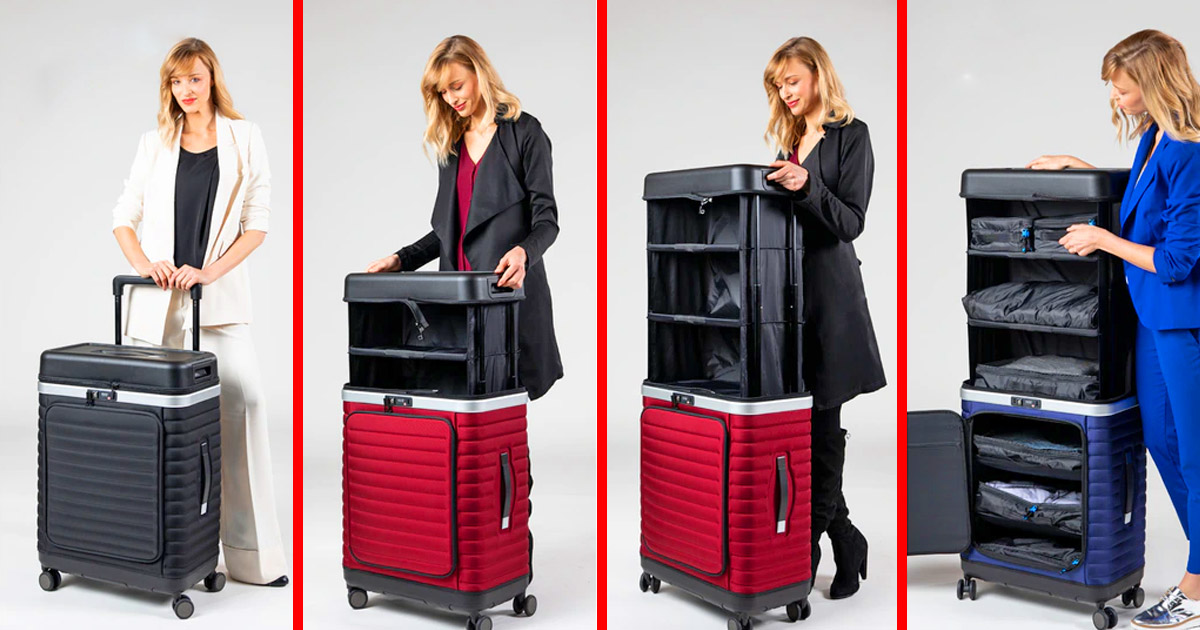 This Ingenious Pull-up Luggage Turns Into a Shelf In Seconds