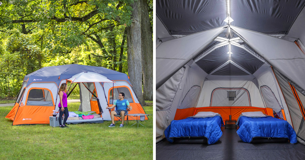 This Instant Setup Cabin Tent Has Built-In LED Lighting For Lighted Activities At Night