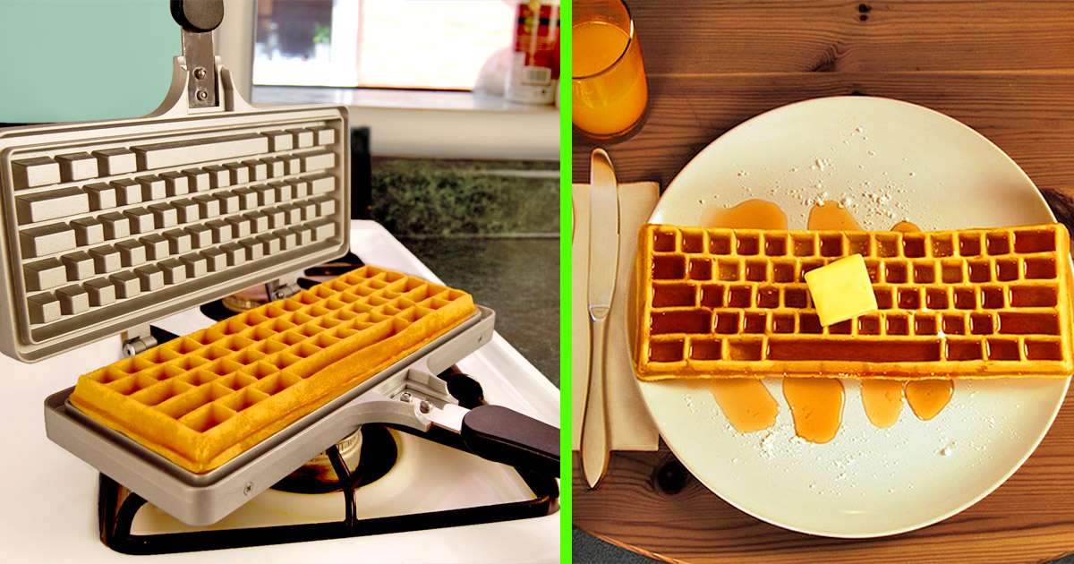 This Keyboard Shaped Waffle Iron Lets You Make Waffles In True Geeky Fashion