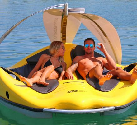 This Lake Lounger Is Actually An Electric Boat That Lets You Scoot Around The Water