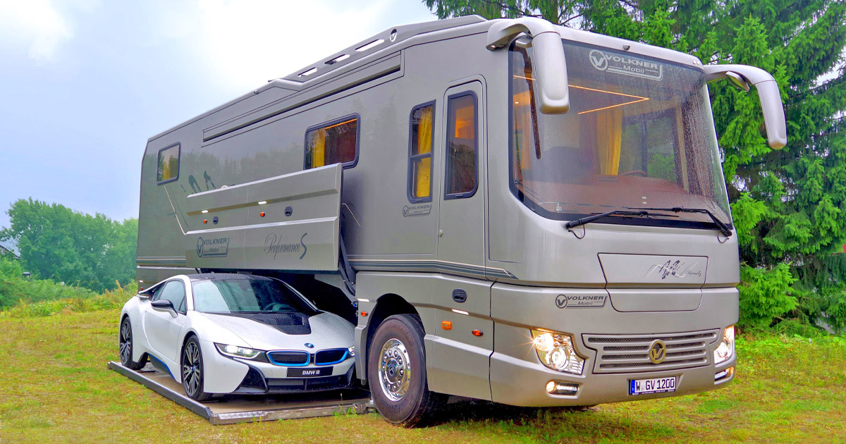This $1.7 Million Luxury Motorhome has Its Own Garage To Hold a Car