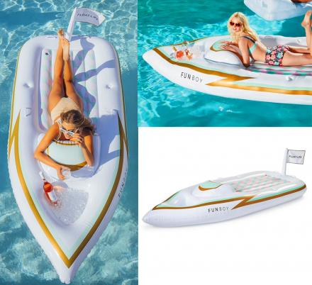 This Mini Yacht Shaped Pool Float Has a Little Ice Cooler In The Front