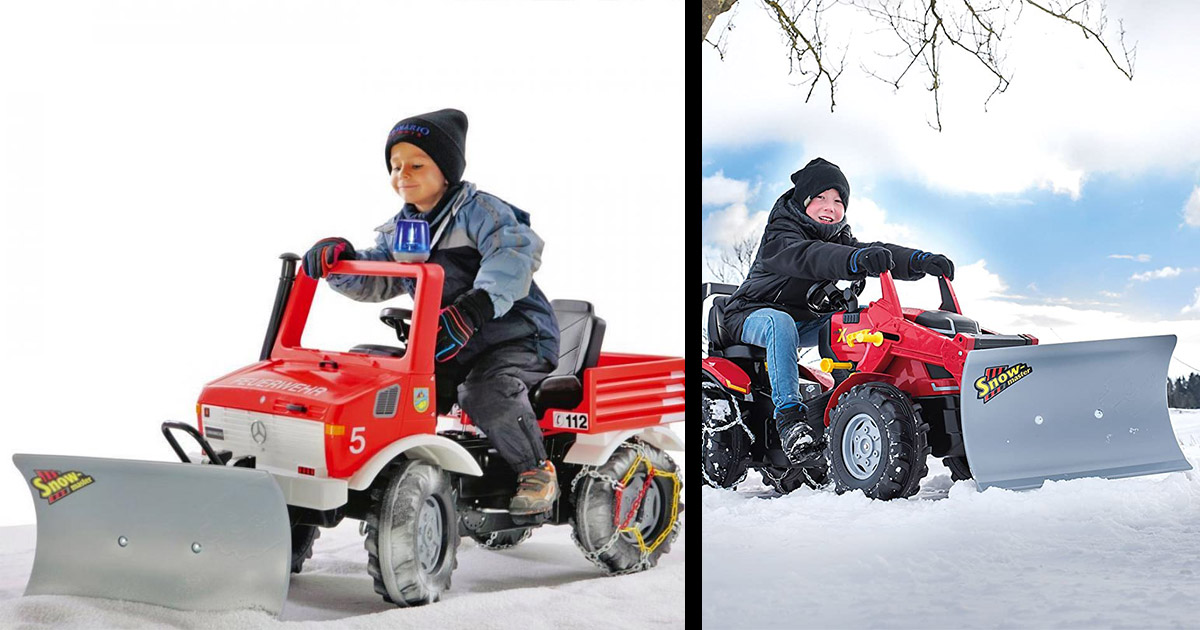This Pedal Powered Snow Plow Actually Lets Your Kid Clear Your Driveway