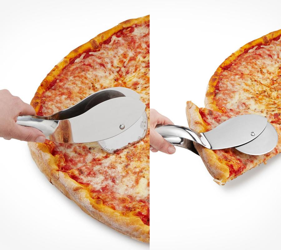 this pizza cutter doubles as a pizza server enlarge image