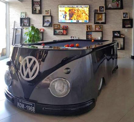 This Pool Table Was Made To Look Like a Retro Volkswagen Hippy Van