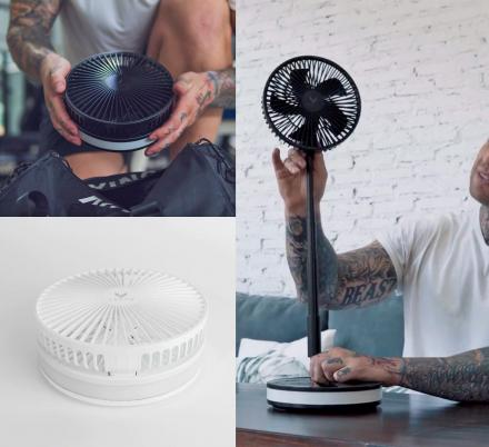 This Portable Wireless Fan Extends Into a Full Size Standing Fan