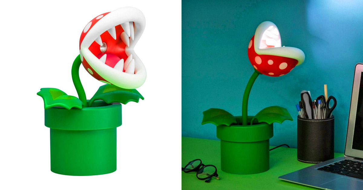 This Posable Super Mario Piranha Plant Lamp Belongs On Every Geeks Desk