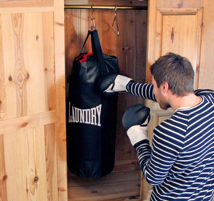 This Punching Bag Is Actually a Laundry Bag Filled With Your Dirty Clothes