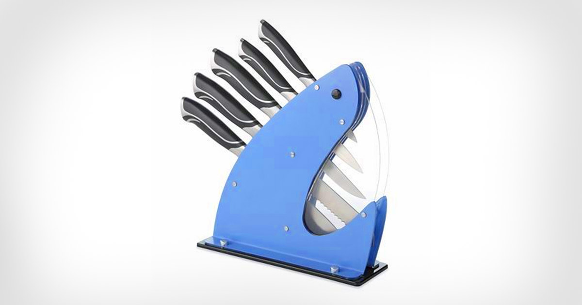 This Shark Knife Set Holder Turns Your Knives Into Shark Teeth