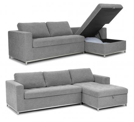 This Sofa Bed Has a Chaise Lounger That Pulls Up For a Storage Area