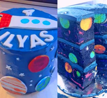 This Space-Themed Birthday Cake Reveals an Entire Galaxy Once Sliced Into