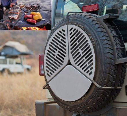 This Spare Tire Mount Doubles as a Camping BBQ Grate