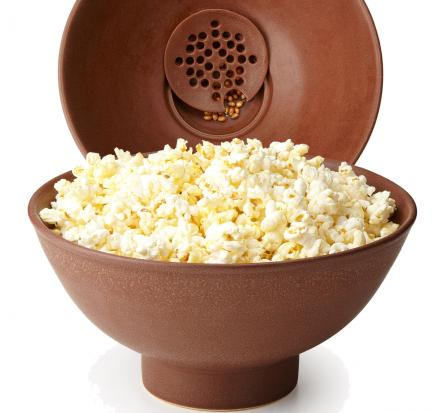 This Stone Popcorn Bowl Filters Your Unpopped Seeds Through The Bottom