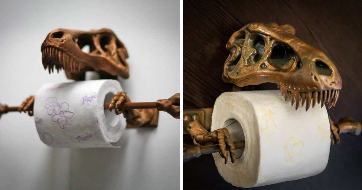 This T-Rex Skeleton Toilet Paper Holder Is Perfect For Dino Lovers