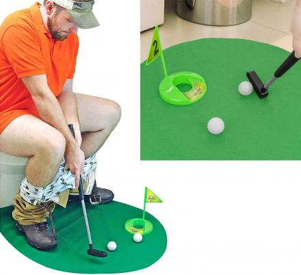 This Toilet Putting Green Lets You Practice Your Putting While On The Can
