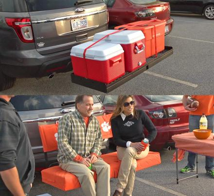 This Truck Hitch Cargo Holder Doubles as Seating For Tailgating or Camping